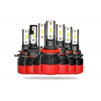 All In One LED Car Headlight Bulbs High Low Beam With Black Red Housing