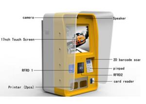 China Half Outdoor Wall Mounted Self Service Payment Commercial Kiosk With Printer on sale