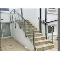 Side Mount Glass Balustrade Stainless Steel Handrails , Steel And Glass Stair Railing