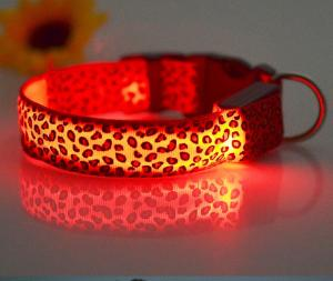 China Durable leopard print dog cat safety LED light glow flashing nylon pet necklace collar supplies on sale
