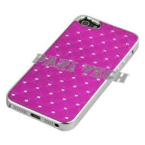 China iPhone Case Deep Pink Metal Chrome Diamond Bling Back Skin Case Cover for iPhone 5 on sale