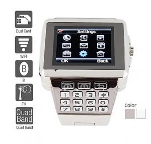 China Premiere - Dual SIM Quadband Stainless Steel Cell Phone Watch (WiFi, JAVA, MP3 ) 218361 on sale