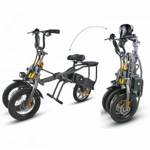 China 3 Wheel Foldable Electric Tricycle Bike High Speed Powerful 2 Pcs Battery 350W on sale