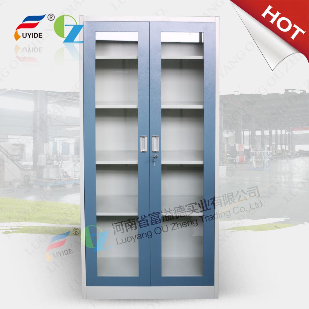 KD swing glass door steel cupboard with 4 adjust shelves,0.5-0.8 mm ...
