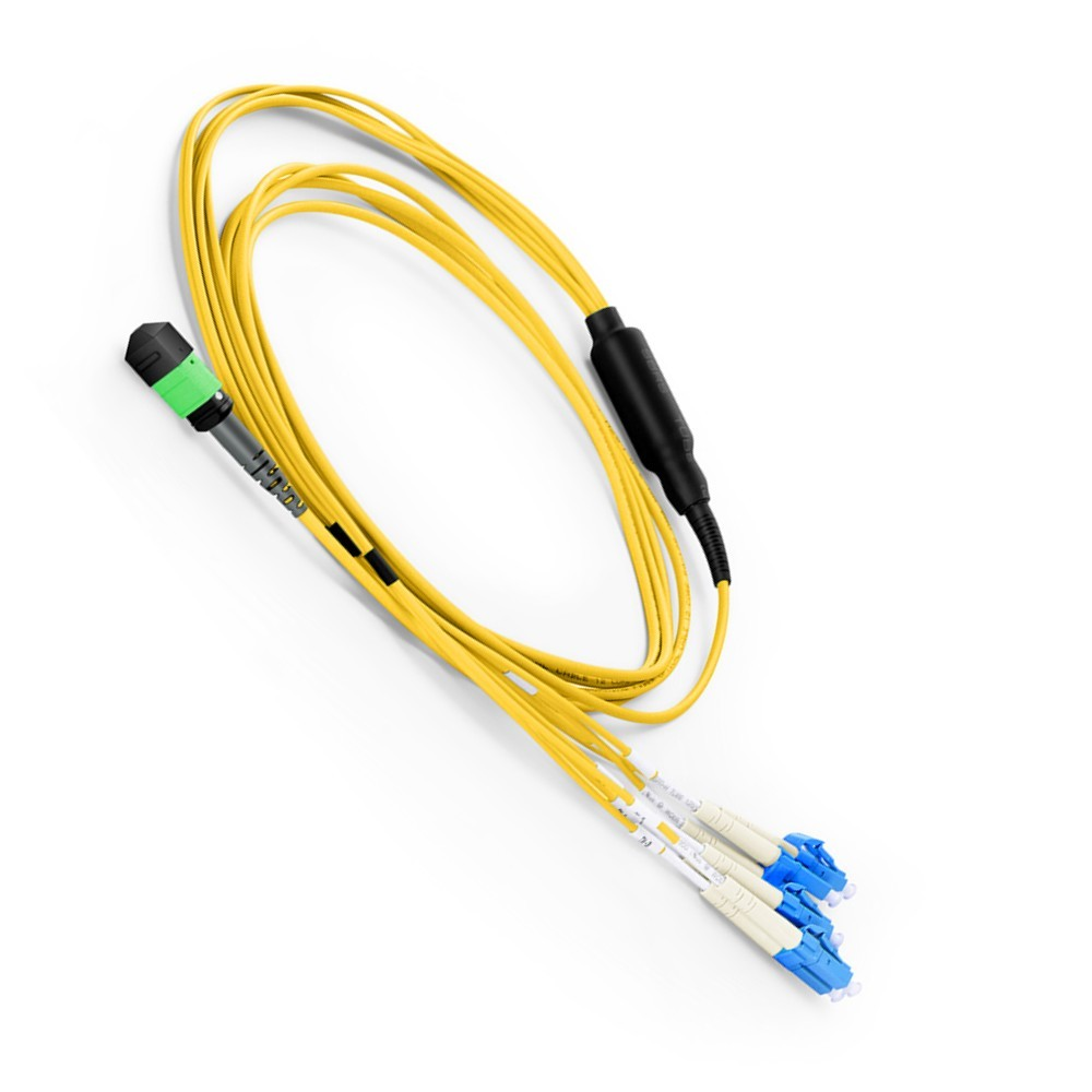 8 Fibers MTP/MPO to 4 Duplex LC Harness Cable, OS2 9/125