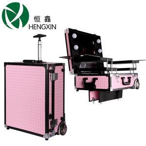 China Le maquilleur cosmétique portent la valise avec la lumière/miroirs allumés de maquillage pour des stations de beauté de maquillage on sale