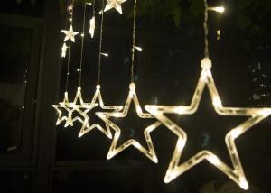 China 2M LED Curtain Lights , 110v 220 Volt Christmas Star Curtain Lights on sale