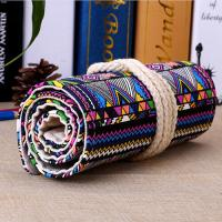 China Roll - Up Canvas Student Pencil Pouches , Pencil Roll Case Cotton Rope Closure on sale