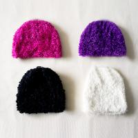 Winter Simple Deluxe polar fleece plush Knitted  Beanies hats knitting crochet cap for teenagers kids