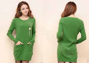 China Green Crew Neck Womens Cable Knit Sweaters Long Pullover Dress with Pockets on sale