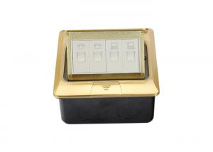 China RJ45 Floor Monument Receptacle Golden Panel Spring - Up With Double Data / Telephone Socket on sale