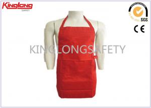 China Promotional Customized Red / White Cooking Bib Aprons With Pockets on sale