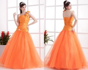 China Orange One Shoulder Ball Gown / Crystal Bow Pleated Pretty Quinceanera Dresses on sale