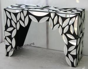 China Leaves Design Hallway Mirror Table , Black Silver Color Mirrored Cocktail Table on sale