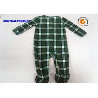 Grid AOP Baby Pram Suit YKK Zipper Closure 100% Polyester Micro Fleece Coverall
