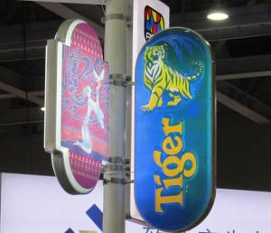 China Tiger beer street sign singapore beer sign box,street pole bracket fixing light box, on sale