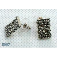 Antique silver Color Charm Jewelry Sterling Silver Zirconia Stud Earrings with Rhinestone