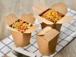 Eco-friendly Food Grade Brown Paper Material Disposable Noodle Pail Spaghetti Salad Takeaway Boxes
