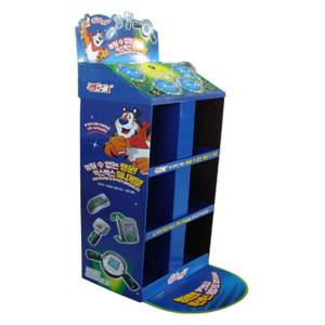 China Sidekick Power Wing Paper Material Blue 3 Shelves Display Rack for Grocery Retail Toys on sale