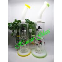Big size style handmade high borosilicate glass green and yellow glass smoing pipe