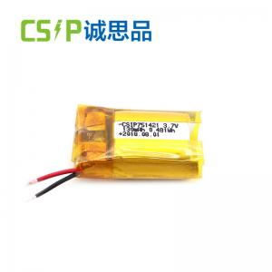China Bluetooth rechargeable li-polymer battery lithium ion battery 130mAh 3.7V 751421 on sale