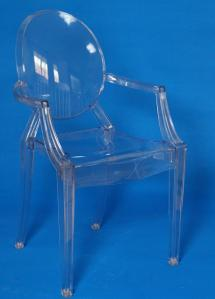 China R-GH-L00 Transparent Resin Ghost Louis Arm Chair in Clear Colour on sale