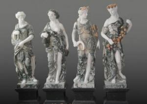 China Four Season Goddess Garden White Marble Sculptures - 70'' Tall on sale