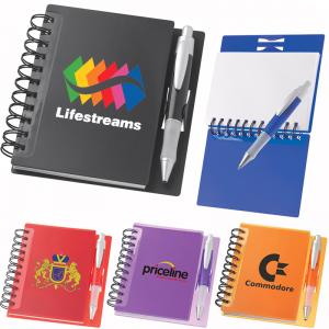 China Eco friendly plastic spiral notebook with pen on sale