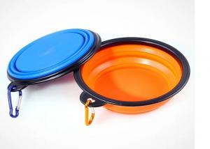 China Collapsible Travel Puppy Feeding Bowl , Silicone Black Frame 5.12'' Pet Water Bowl on sale