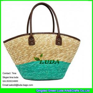 China LUDA leather top piping straw handbags striped wheat straw tote weaving bag on sale