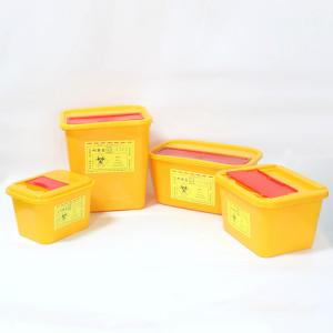 China Yellow Swing Lid Needle Disposal Medical Sharps Box High capacity plastic square collection box on sale