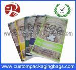 Bolsos de empaquetado de las palomitas plásticas de encargo claras del sellado caliente con el escudete lateral