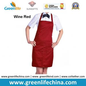 China Polyester wine red advertisement apron ready for logo printing men women tool accessory on sale