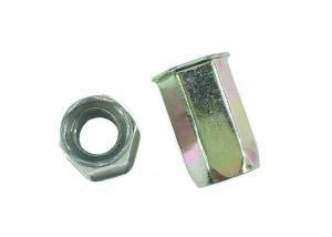 China Carbon Steel Hardware Nuts Bolts Flat Head M6 x 18 Hex Rivet Nut Yellow Zinc Plated on sale