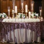Embroidered Glitter Sequin Tablecloth , Gold Round Tablecloth 106x138 Large Size