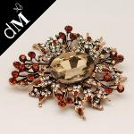 Cheap Gun Metal, Acrylic Beads, Rhinestone Fabric Flower Brooches for Clothing BP0013