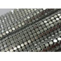 Sparkling Decorative Aluminum Sequin Metallic Mesh Fabric Flat Shape Matted / Shining Surface