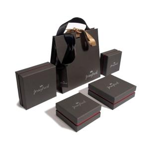 China Offset Printing 300gsm Black Paper Bags With Handles on sale