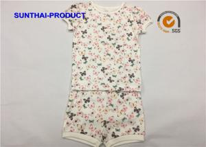 China Butterfly Print Children's Clothing Sets Picot  Short Sleeve Top And Short For Baby Girl on sale