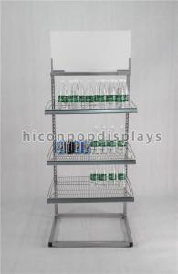 China Freestanding Powdered Silver Water Bottle Display Stand In 3 Tier For Purified Water on sale