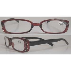 China Red Full Rim Rhinestone Reading Glasses with Lens edge polishing and beveling BP-4338 on sale