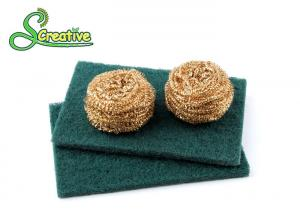 China Steel Wire Brass Scouring Pads Cleaning Scrubber For Restaurant / Pan / Dish Wash on sale
