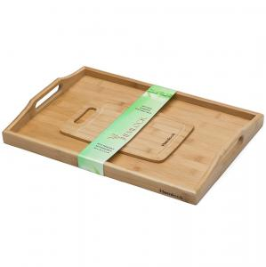 China melamine wood serving tray with handle and cutting board on sale