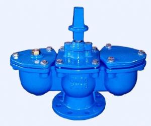 China Blue Double Acting Air Release Valve With Ductile Iron Fittings / Chamber on sale