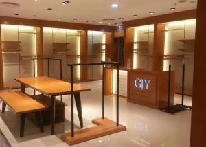 China Venner Wood Clothing Shop Display Stands With LED Lighting Decoration Modern Style on sale