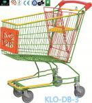 Chariot galvanisé coloré à achats de supermarché de style de caddie avec le panneau de publicité 100L