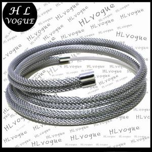 China silver stainless steel mesh cuff bangle fashion bracelet mens womens on sale
