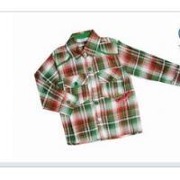 Machine Washable Woven Red, Black, Green Long Sleeve Lapel 100% Cotton Kids Plaid Shirts