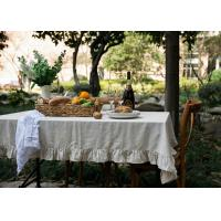Gray Ruffle Patchwork Decorative Table Cloths Oblong 100% Linen Cotton