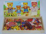 Mejor niños barato personalizados que visten cuatro juguetes de madera de los rompecabezas del niño de los osos